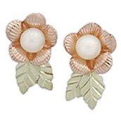 Black Hills Gold Earrings Rose & White Pearl Post