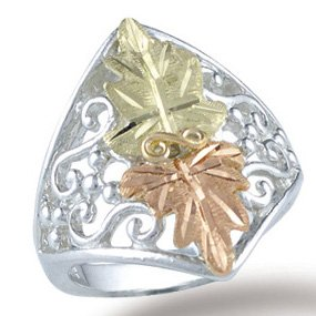 Black Hills Gold 2 Leaves Sterling Silver Filigree Ladies Ring