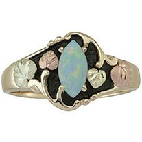 Black Hills Gold Ring Ladies Opal Cabochon Marquise Shaped