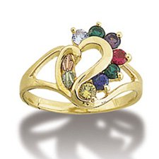 "Black Hills Gold Heart 7 Synthetic Gemstone Acrostic Ladies Ring Landstrom's "" Dearest "" Line"
