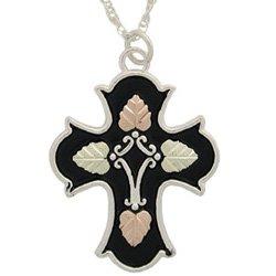 Black Hills Gold Necklace Antiqued Cross Sterling Silver