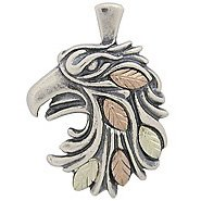 Black Hills Gold Pendant Necklace Oxidized Sterling Silver Eagle Ladies Mens