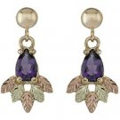 Black Hills Gold Earrings Genuine Amethyst Teardrop Post