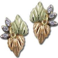 Black Hills Gold Diamond Cluster Earrings .12