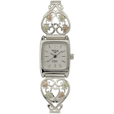 Black Hills Gold Watch Ladies Diamond Sterling Silver Heart