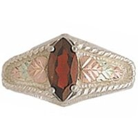 Black Hills Gold Ring Ladies Garnet Marquise Sterling Silver