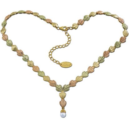 Black Hills Gold Pearl Drop Solid 10K & 12K Gold Necklace