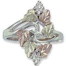 Black Hills Gold On Sterling Silver 6 Leaf Ladies Ring