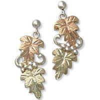 Black Hills Gold Sterling Silver Dangle Post Earrings