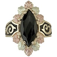 Black Hills Gold Ring Ladies Faceted Black Onyx Antiqued