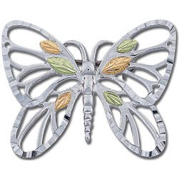 Black Hills Gold On Sterling Silver Butterfly Pin - Brooch
