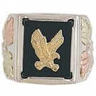 Black Hills Gold Ring Mens Sterling Silver Onyx & Eagle
