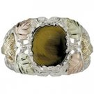 Black Hills Gold Ring Mens On Sterling Silver Tiger's Eye 6 Leaves