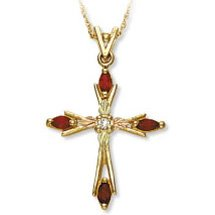 Black Hills Gold Cross Diamond & Gemstone Necklace Available In GENUINE Ruby Sapphire Or Emerald