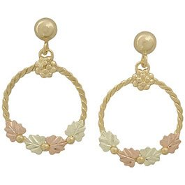 Black Hills Gold Earrings Hoop & Leaves Dangle Post