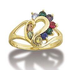 Black Hills Gold Heart 7 Genuine Gemstone Acrostic Ring Landstrom's Dearest Line