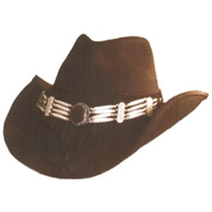 Shady Brady Cowboy Hat Black Wool Felt Beaded Fringe Chap Band Crushable Large