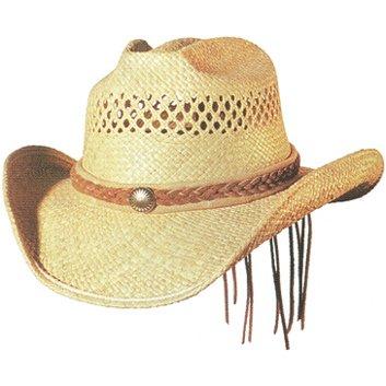 Shady Brady Cowboy Hat Raffia Straw Vented Suede Braid & Piping Large