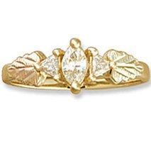 Black Hills Gold 3 Diamond .41 Anniversary Engagement Ring