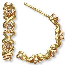 Black Hills Gold Roses, Kisses & Diamonds Post Earrings