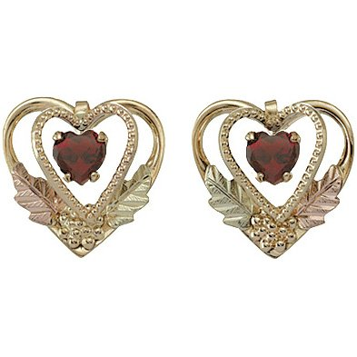 Black Hills Gold Earrings Garnet 2 Hearts Post