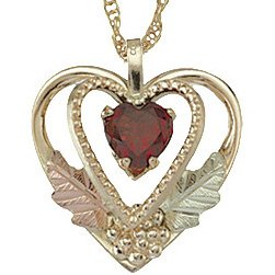 Black Hills Gold Necklace  Garnet 2 Hearts