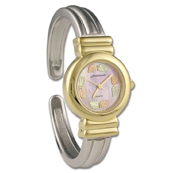 Black Hills Gold 8 Leaf Cuff Pink Irridescent Face Ladies Wrist Watch