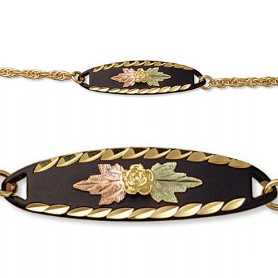 Black Hills Gold Rose Black Enamel Chain Bracelet