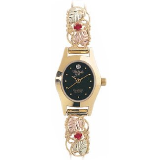 Black Hills Gold Watch Ladies Ruby & Diamond Exquisite!