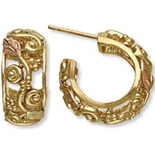 Black Hills Gold Hoop Post Earrings