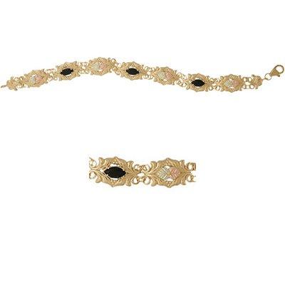 Black Hills Gold Bracelet Faceted Black Onyx