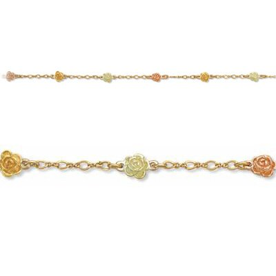 Black Hills Gold Roses In 3 Colors Chain Bracelet