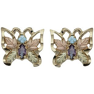 Black Hills Gold Earrings Amethyst & Blue Topaz Butterfly Post