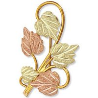 Black Hills Gold 5 Leaves & Vines Brooch