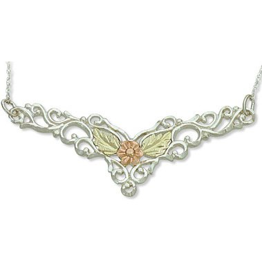 Black Hills Gold Daisy & Leaves Festoon Sterling Silver Necklace
