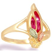Black Hills Gold Faceted Rose Zircon Ladies Ring