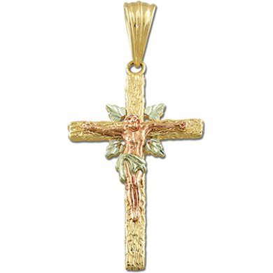 Black Hills Gold Rugged Cross Crucifix Solid Gold Pendant Necklace