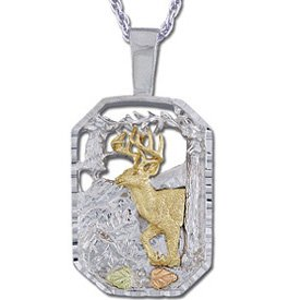Black Hills Gold Deer Buck Sterling Silver Necklace Unisex