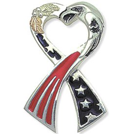 Black Hills Gold Patriotic Ribbon Sterling Silver Tie Tack Pin