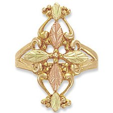 Black Hills Gold Cross & Gold Filigree Ladies Ring