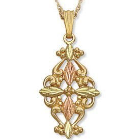 Black Hills Gold Cross & Gold Filigree Necklace