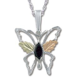 Black Hills Gold Black Onyx Sterling Silver Butterfly Necklace
