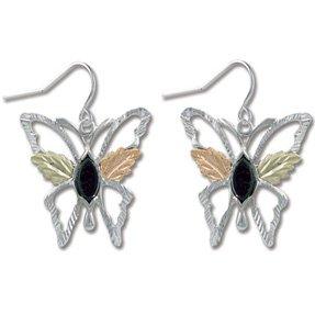 Black Hills Gold Black Onyx Sterling Silver Butterfly Earrings