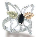 Black Hills Gold Black Onyx Sterling Silver Butterfly Ladies Ring