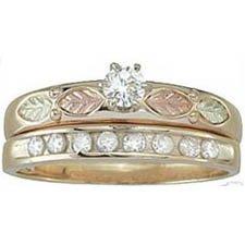 Black Hills Gold Ring Ladies Wedding Set 9-Diamond .41 Bridal