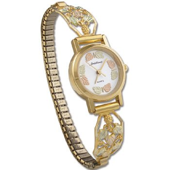 Black Hills Gold 20 Leaf Quartz Ladies Wrist Watch