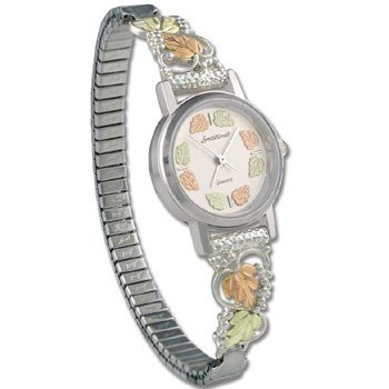 Black Hills Gold 12 Leaf Sterling Silver Ladies Wrist Watch