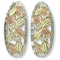 Black Hills Gold 8 Leaves J Shaped Sterling Silver Post Earrings