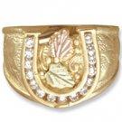 Black Hills Gold Diamond Horseshoe Mens Ring .30