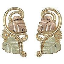 Black Hills Gold Earrings Leaves Vines Grapes Post